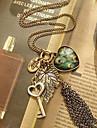 Dame Coliere cu Pandativ Coliere Vintage Pană Aliaj Heart Shape Leaf Shape Pană Păun Bijuterii Zilnic Casual
