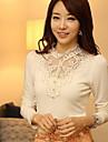 YGR Kvinnors White Lace Print Stand Neck tröjor