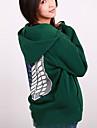 Inspirerad av Attack on Titan Mikasa Ackermann Animé Cosplay-kostymer cosplay Pull Tryck Grön Lång ärm Kappa För Kvinna