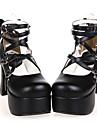 Chaussures Lolita Classique/Traditionnelle Fait à la Main Talon haut Chaussures Nœud papillon 9.5 CM Noir Pour FemmeCuir PU/Cuir