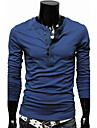 Cămăși QCH bărbați de culoare maneca lunga T solide (albastru)