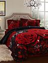 påslakan set, 4 delar borstad 3d tryckt röd ros full storlek