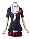 Inspirerad av Dangan Ronpa Junko Enoshima Video Spel Cosplay Kostymer/Dräkter cosplay Suits / Skoluniformer Lappverk Svart / Röd Halv ärm