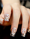 12st White Lace Transparent med Strass Glitter Bröllop nagel Stickers blommönster