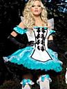 Costumes de Cosplay Princesse Conte de Fée Fête / Célébration Déguisement d'Halloween Blanc Bleu Mosaïque Robe Casque GantsHalloween