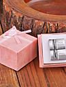 Personlig gåva Rektangel Silver Metal Graverad Manschettknapp med Rhinestone