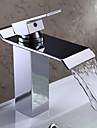 Contemporain Set de centre Cascade with  Valve en céramique Mitigeur un trou for  Chrome , Robinet lavabo