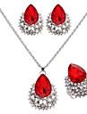 Set bijuterii Pentru femei Nuntă / Logodnă / Zi de Naștere Set Bijuterii Aliaj Roșu-aprins / Ștras Coliere / Σκουλαρίκια Argintiu
