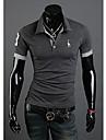 DJJM bărbați Fashion Leisure vinde ca pâinea caldă Deer broderie cu maneci scurte Polo T-Shirt (Dark Gray)
