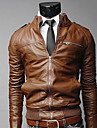 DAYD Fashion Slim Zipper Kort Leather Coat (Brown)