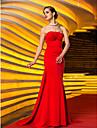 Trompetă / Sirenă Fără Bretele Mătura / Trenă Tricot Seară Formală Bal Militar Rochie cu Mărgele Ruching Cruce de TS Couture®