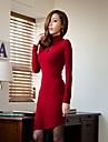 CoolCube Kvinnors Hög hals bomull långärmad Bodycon Dress Red