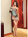 Femei colorat model umăr Mini Dress