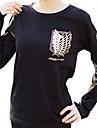 Inspiré par Attack on Titan Mikasa Ackermann Anime Costumes de cosplay Hoodies Cosplay Imprimé Noir Manche Longues Manches Ajustées