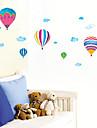 färgglada eld ballong och vitt moln mönster sovrummet pvc diy väggpapper (1 st)