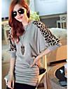 YGR Kvinnors Leopard Print rund hals Loose Fit Shirt