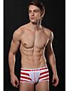 Intymens Män'S White & Red Stripe Opaque Bekväm Boxer Underkläder