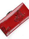 Mega Classic fjäril mönster läder Lång plånbok (Röd)