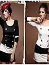 Femei New mânecă lungă, dublă Breasted Stripe Dress