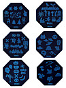 1PCS Halloween Nail Art Stamp Stamping Blue Image Template Plate HD Series NO.1-6 (Assorted Colors)