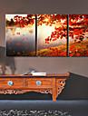 style moderne mur feuille d'érable de grande classe horloge dans la série de 3 toile
