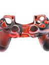 caisse de peau de silicone pour PS4 Controller (noir + blanc + rouge)