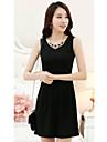 CHAOLIU femei Coreea Negru Style fără mâneci Slim Fit Dress