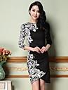despicare floare de imprimare rochie poliester midi femei