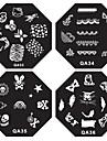 1PCS Nail Art stämpel Stämpling Mall Plate QA-serien NO.1-44 (Blandade Mönster)
