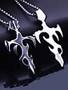 Bijuterii personalizate, cadouri pentru barbati de titan de oțel în formă de flacără gravate colier pandantiv cu lanț 60cm