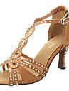 Chaussures de danse(Autre) -Non Personnalisables-Talon Bottier-Satin-Latine Salon Salsa