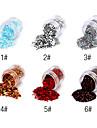1PCS Hexagonal Glitter Tabletter Nail Art Dekorationer NO.1-6 (blandade färger)