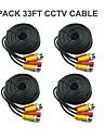 4 st 33 Ft BNC Video och Power 12V DC CCTV Kabel