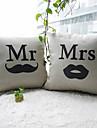 uppsättning av 2 mr.moustache och mrs.lip bomull / linne dekorativa örngott