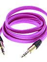 Nudlar Style Weave Line Audio Jack anslutningskabel (lila 1.01m)