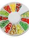 12-Color Fruit Design Polymer nagel konst Decoration