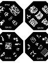 1PCS Nail Art Stamp estamper modèle de plat d'image AQ Série NO.9-56 (modèle assorties)