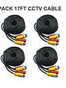 4 st 17 Ft BNC Video och Power 12V DC CCTV Kabel