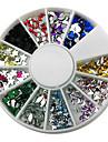 12-Color Mixed Style Nail Art Glitter Akryl Rhinestone dekorationer