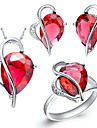 De moda de argint placat cu Cubic Set bijuterii zirconiu neregulate picătură de femei (colier, cercei, inel) (Red, Purple)
