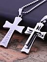 Personlig gåva rostfritt stål Tre Layer Cross Shaped Graverade hängande halsband smycken (Inom 10 tecken)