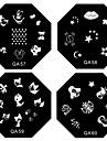 1PCS Nail Art stämpel Stämpling Mall Plate QA Series No.5-60 (Blandade Mönster)