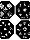 1PCS Nail Art Stamp estamper modèle de plat d'image AQ Série NO.21-52 (modèle assorties)