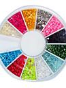 144st 12-Color 2mm Liten nagel Boll Pärlor nagel konst Decotations