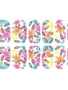 12 PCS pleine couverture 3D feuilles colorées Nail Wrap
