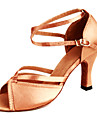 Chaussures de danse(Marron) -Non Personnalisables-Talon Bobine-Satin-Latine