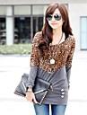 Femeii Fashion Casual Top Bluza cu Leopard Patchwork lung Proiectare