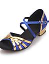 Kvinnor och Barn Satin Cross Stripe Chunky Heel Sandaler Dansskor (fler färger)