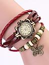 Koshi 2014 d'arc de cru de chaîne en cuir de femmes montre-bracelet (rouge)