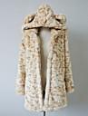 Sleeve Hood Faux blana Casual / Party haină lungă